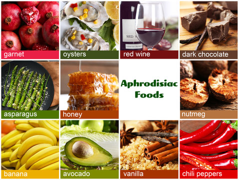 Collage of aphrodisiac food. Meal for stimulating sexual desire