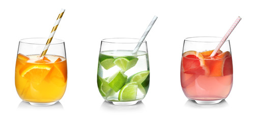 Different drinks in glasses on white background. Ideas for summer cocktails