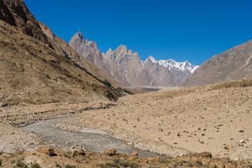 Landscape of Trango tower family, Lobsang spire and river, K2 trek, Skardu,  Pakistan