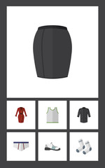 Flat Garment Set Of Stylish Apparel, Underclothes, Foot Textile And Other Vector Objects. Also Includes Sleeveless, Foot, Apparel Elements.