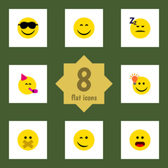 Flat Face Set Of Party Time Emoticon, Smile, Hush And Other Vector Objects. Also Includes Smile, Party, Light Elements.
