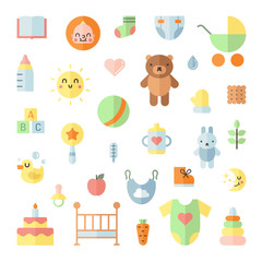 Baby cute big flat icons square vector set.