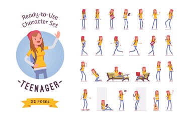 Ready-to-use teenager girl character set, various poses and emotions