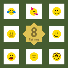 Flat Face Set Of Pleasant, Cold Sweat, Wonder And Other Vector Objects. Also Includes Winking, Pleasant, Happy Elements.