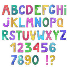 Awesome colorful wooden alphabet isolated on white background. Vector illustration