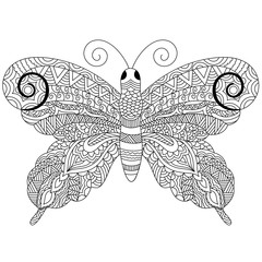 Zentangle butterfly, hand drawn doodle illustration.