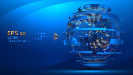 Globe internet background vector.