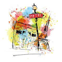 European capital, sketch, Paris, modernist style