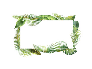 Watercolor rectangular frame tropical leaves and branches isolated on white background.