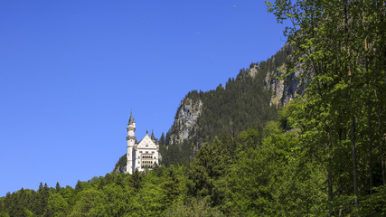 The Castle of Neuschwanstein with Paragliding, Bavaria, Germany