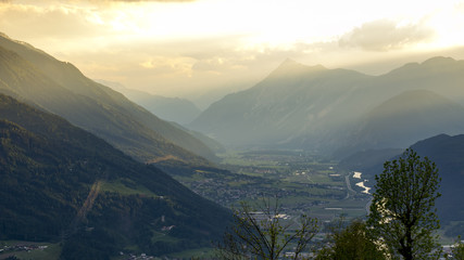 Valley at sunset at Mosern, Tyrol, Austria