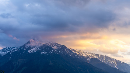 Alps at sunset at Mosern, Tyrol, Austria