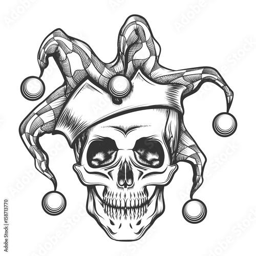 the skull in joker cap stockfotos und lizenzfreie. Black Bedroom Furniture Sets. Home Design Ideas
