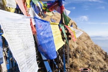 Wallpaper Macro tibetan prayer flags yellow blue red green white mountain temple  religion