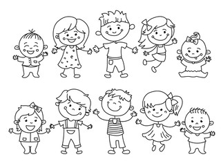 Cheerful children painted by colorful pencils with kids elements, drawings, paintings. Girls and boys are on the white background in the linear design. Vector illustration
