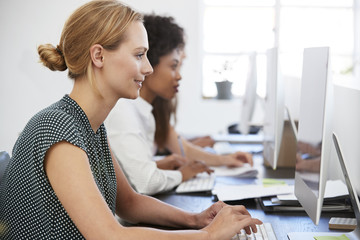 Young woman working at computer in office beside colleagues