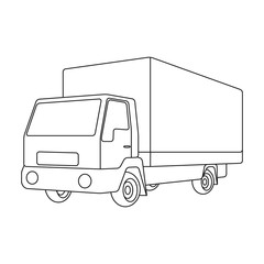 Truck with awning.Car single icon in outline style vector symbol stock illustration web.