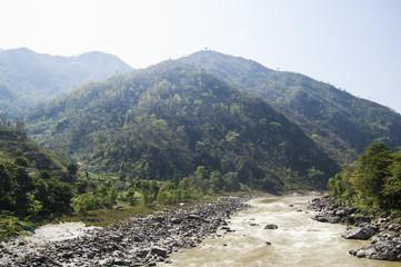 Wallpaper landscape valley mountain river nepal