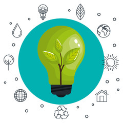Colorful light bulb with crop icon and hand drawn related icons over white background vector illustration.
