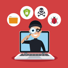 red color background laptop with espionage with hacker vector illustration