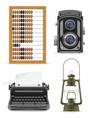 objects old retro vintage icon stock vector illustration