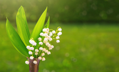 Lily of the valley bouquet in vase.
