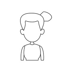 face portrait young woman cartoon vector illustration
