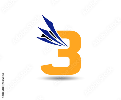 Number three 3 logo symbol design template elements \