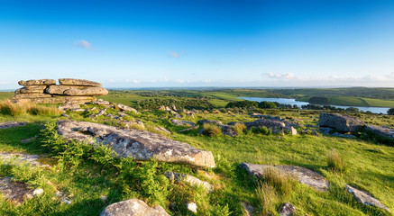 Wall Mural - A panoramic view from the top of Tregarrick Tor overlooking Siblyback Lake on Bodmin Moor in Cornwall