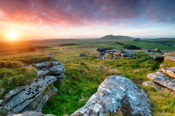 Wall Mural - Stunning sunset from the top of Garrow Tor  on Bodmin Moor in Cornwall with Roughtor in the distance