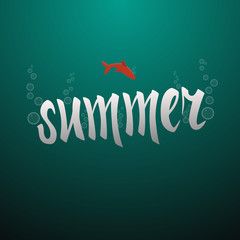Summer time banner. Vector illustration card of holiday. Calligraphy inscription