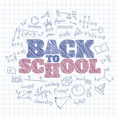 Back to school chalk inscription in the copybook. Vector illustration on the notebook.