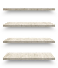 Empty wooden shef isolated on the wall on white background with clipping path