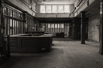 Abandoned building from inside, located in England, Wolverhampton. Black and white photo