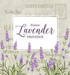 Wall Mural - The lavender elegant card. Vintage postcard background vector template for wedding invitation. Label with lavender flowers. Vector illustration.