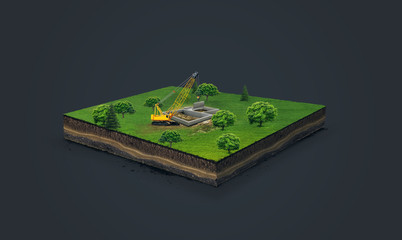 3d illustration of a soil slice, crawler crane, hoisting crane , building a house, on green meadow isolated on dark background