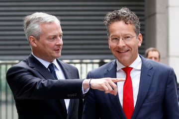 Dutch Finance Minister and Eurogroup President Jeroen Dijsselbloem is greeted by French Economy Minister Bruno Le Maire upon his arrival at the Bercy Finance Ministry in Paris, France