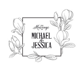 Marriage invitation card with custom sign and magnolia flower frame over white background. Vector illustration.