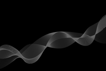 abstract wave flow smoke on dark background.vector and illustration