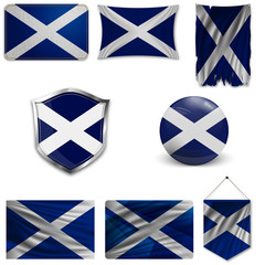 Set of the national flag of Scotland in different designs on a white background. Realistic vector illustration.