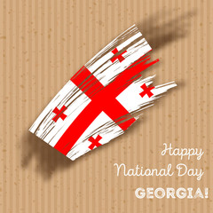 Georgia Independence Day Patriotic Design. Expressive Brush Stroke in National Flag Colors on kraft paper background. Happy Independence Day Georgia Vector Greeting Card.