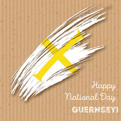 Guernsey Independence Day Patriotic Design. Expressive Brush Stroke in National Flag Colors on kraft paper background. Happy Independence Day Guernsey Vector Greeting Card.