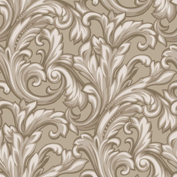 Hand drawn abstract seamlessly repeating scroll wallpaper pattern.