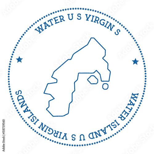 Water Island, U.S. Virgin Islands map sticker. Hipster and retro ...