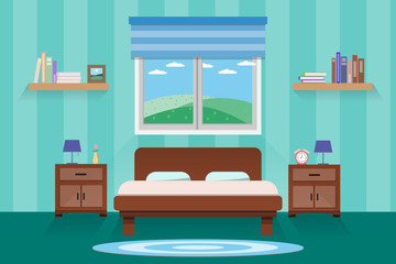 interior bedroom design with bed and Accessory.vector and illustration