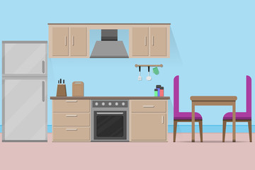 interior kitchen room design with kitchenware.vector and illustration