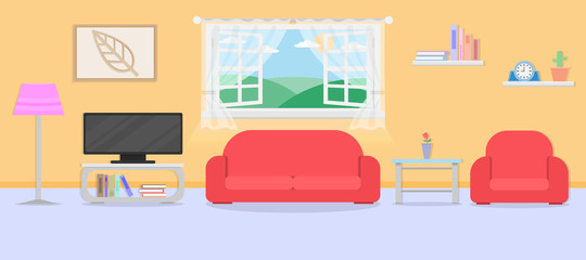interior living room with furniture and window.vector and illustration