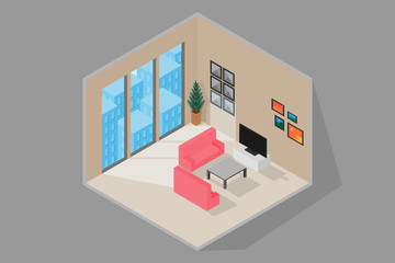 interior living room 3D isometric.vector and illustration