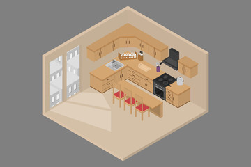 interior apartment with bedroom living room and kitchen room. 3D isometric.vector and illustration