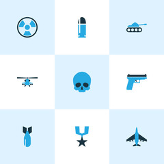Army Colorful Icons Set. Collection Of Tank, Skull, Bullet And Other Elements. Also Includes Symbols Such As Fighter, Radiation, Gun.